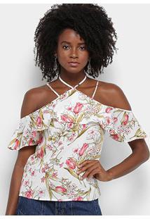 Blusa Lily Fashion Floral Babado Feminina - Feminino-Branco