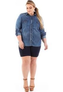 Camisa Jeans Confidencial Slim Com Lycra Plus Size Feminina - Feminino-Azul