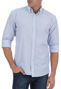 Camisa Social Masculina Azul Listrada
