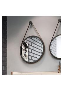Espelho Redondo Disco Decorativo C/ Alça Hb Móveis 670Mm Preto