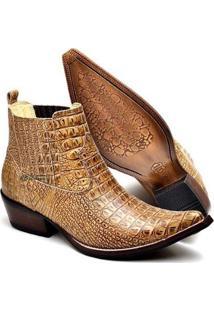 Bota Country Top Franca Shoes Bico Fino Masculino - Masculino-Caramelo