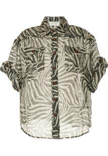 Zimmermann Blusa Animal Print - Preto