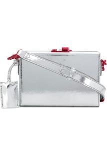 Calvin Klein 205W39Nyc Clutch Box De Couro Metalizado - Metálico