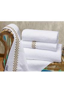 Jogo De Banho Gigante Coleção Sharon Percal 200 Fios Liso C/ Detalhes Com 5 Peças - Bernadete Casa