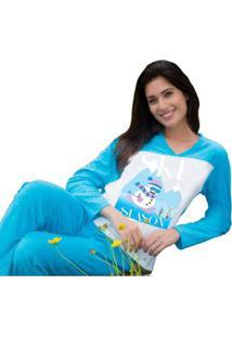 Pijama Inverno Frio Longo Plush Adulto Feminino Victory 18115 - Feminino-Azul