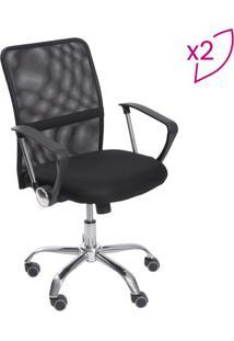 Jogo De Cadeiras Office Smart- Preto & Prateado- 2Pçor Design
