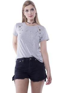 Blusa T-Shirt Com Ilhoses E Correntes Pop Me Feminina - Feminino-Mescla