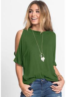Blusa Com Ombros Vazados Verde