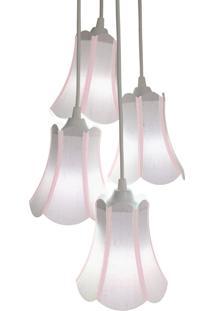Lustre Pendente Luminária Cacho 4 Cúpulas Paris Linho Com Detalhes Em Rosa Bebê