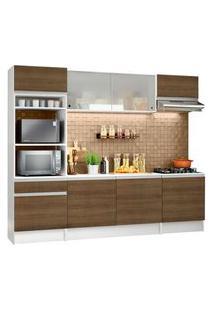 Armário De Cozinha Completa Madesa Topazio Com Balcão E Tampo Branco/Rustic Rustic