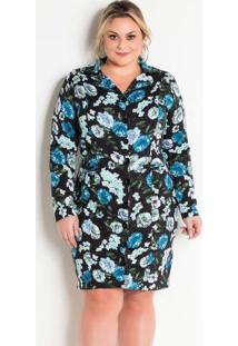 Blazer Vestido Floral Plus Size Com Botões