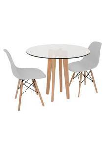 Conjunto Mesa De Jantar Em Vidro 90Cm Com Base Vértice + 2 Cadeiras Eiffel - Cinza