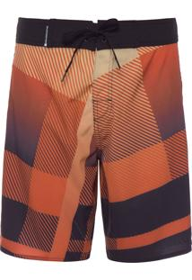 Bermuda Masculina Surf Degradê Plaid - Laranja