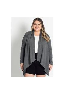 Cardigan Feminino Plus Size De Lurex Secret Glam Cinza