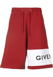 Givenchy Bermuda Com Logo - Vermelho