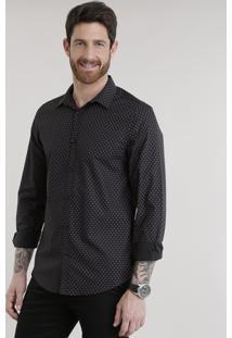Camisa Slim Estampada Em Algodão + Sustentável Preta