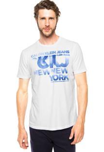Camiseta Calvin Klein Jeans Estampa Jateada Branca