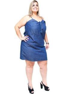 Vestido Jeans Cambos Plus Size Diomar Feminino - Feminino-Azul