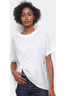 Camiseta Colcci Básica Assimétrica Feminina - Feminino-Areia