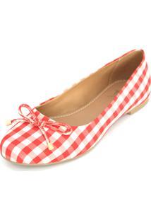 Sapatilha Dali Shoes Cetim Bico Redondo Vermelho