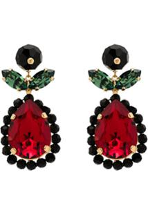 Simone Rocha Tear Drop Crystal Earrings - Dourado