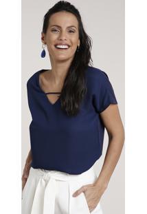Blusa Feminina Ampla Com Tira Manga Curta Decote V Azul Marinho