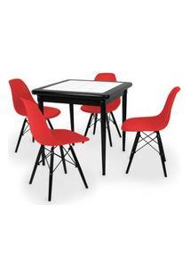 Conjunto Mesa De Jantar Em Madeira Preto Prime Com Azulejo + 4 Cadeiras Eames Eiffel - Vermelho