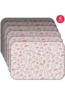 Jogo Americano - Love Decor Sketches Oriental Kit Com 6 Peças.