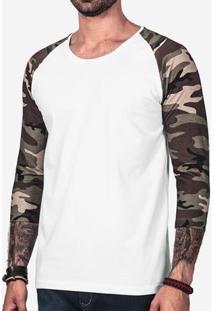 Camiseta 3/4 Branca Manga Camuflada 102165