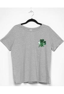 Camiseta Enfim Ampla Feminina - Feminino-Mescla