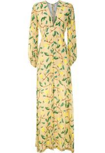 Isolda Vestido Longo Ametista De Seda - Amarelo