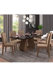 Conjunto De Mesa Para Sala De Jantar Com 6 Cadeiras 180X90 Agata/Nicole-Cimol - Marrocos / Preto / Pluma
