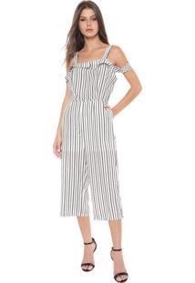 Macacão Ciganinha Lily Fashion Pantacourt Listras Off-White