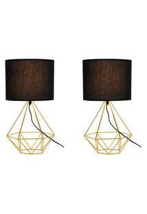 2 Abajures Luminária De Mesa Charme Para Sala 47X25 Metal Dourado
