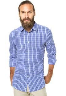 Camisa Benetton Xadrez Azul