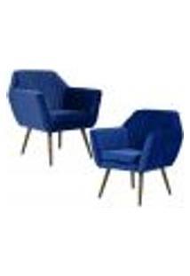Kit 02 Poltronas Decorativas Fixa Pés Palito Dani D02 Veludo Tressê Azul Oxford B-304 - Lyam Decor