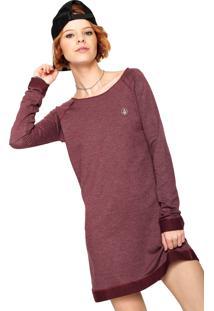 Vestido Volcom Curto Basic Vinho
