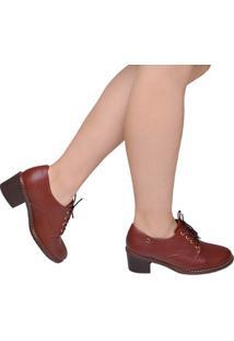 Sapato Feminino Salto Baixo Piccadilly Marrom Castanho