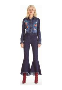 28fc4538b0 ... Calca Jeans Pantacourt Cos Alto Com Barra Diferenciada Jeans