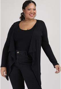 Capa Feminina Plus Size Canelada Assimétrica Preta