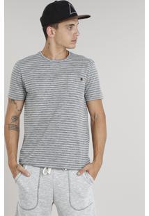 Camiseta Masculina Listrada Com Bolso Manga Curta Gola Careca Cinza Mescla