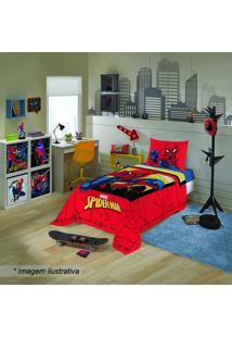Jogo De Cama Spider Man® - Solteiro- Vermelho & Preto