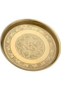 Bandeja Decorativa Arabescos- Dourada- 10,5Xø28Cmmabruk