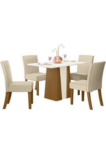 Sala De Jantar Mesa Órus 120Cm Com 4 Cadeiras Maris Nature/Off White/L