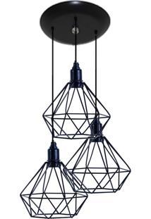 Luminaria Aramado Modelo Diamante 03 Juntos Na Mesma Canopla Preto