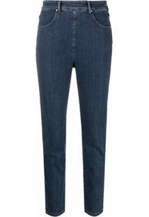 Katharine Hamnett London Calça Jeans De Algodão Orgânico Com Stretch E Zíper Lateral - Azul