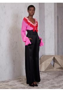 Camisa Atelier Le Lis Top Fuji Seda Rosa Feminina (Pink Fluor, 46)