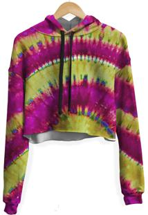 Blusa Cropped Moletom Feminina Transfusion Tie Dye Md010 - Bege/Vermelho - Feminino - Poliã©Ster - Dafiti