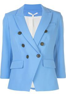 Veronica Beard Blazer Com Abotoamento Duplo E Fenda - Azul