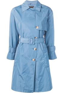 Emporio Armani Trench Coat Com Abotoamento Duplo - Azul
